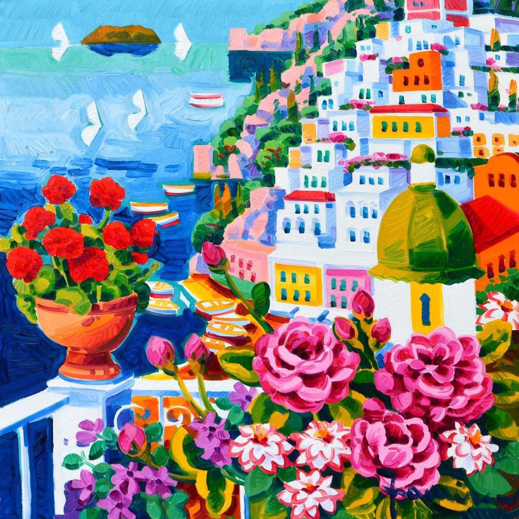 Immagine di Vaso di gerani rossi a Positano