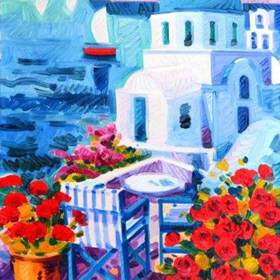 Immagine di La barca rossa e luce a Santorini
