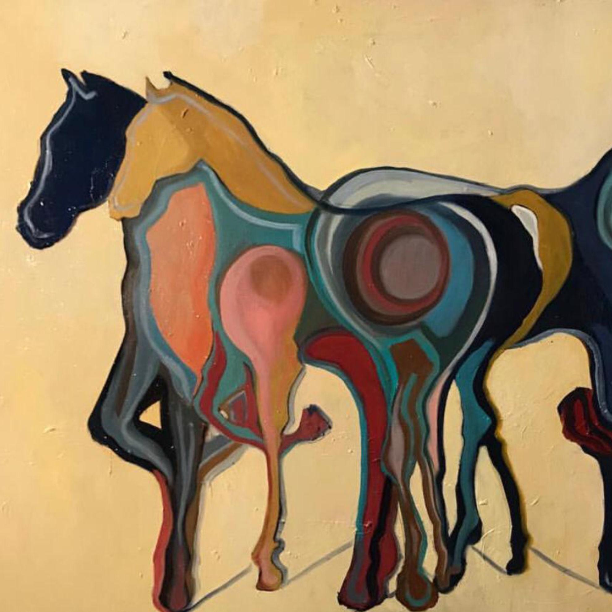 Immagine di Cavalli su fondo giallo