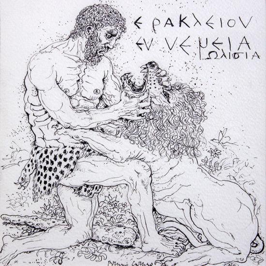 Immagine di Eracle strozza il leone di Nemea