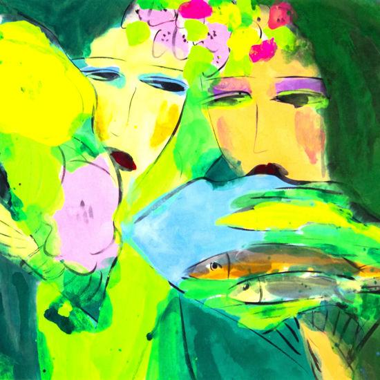 Immagine di Volti con fiori e pesci