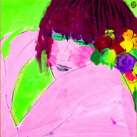 Immagine di Donna rossa con fiori
