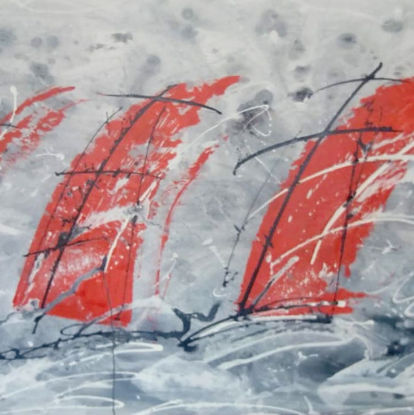 Immagine di Barche rosse su cielo grigio
