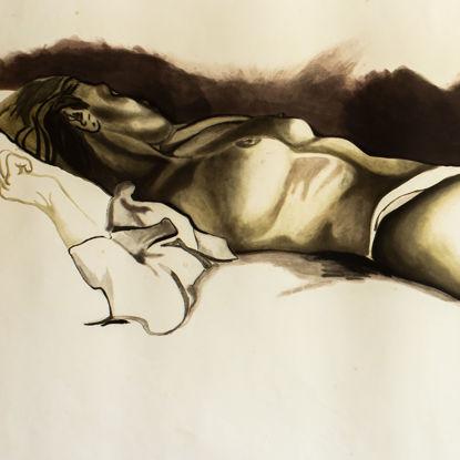 Immagine di Nudo sdraiato con calze nere