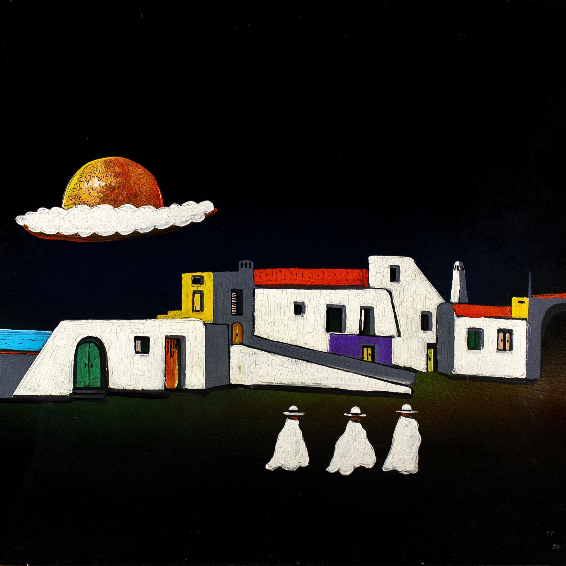 Immagine di Paesaggio con pretini bianchi e luna rossa